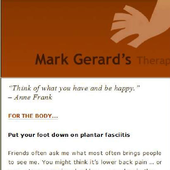 Mark Gerard's Therapeutic Massage E-Newsletter